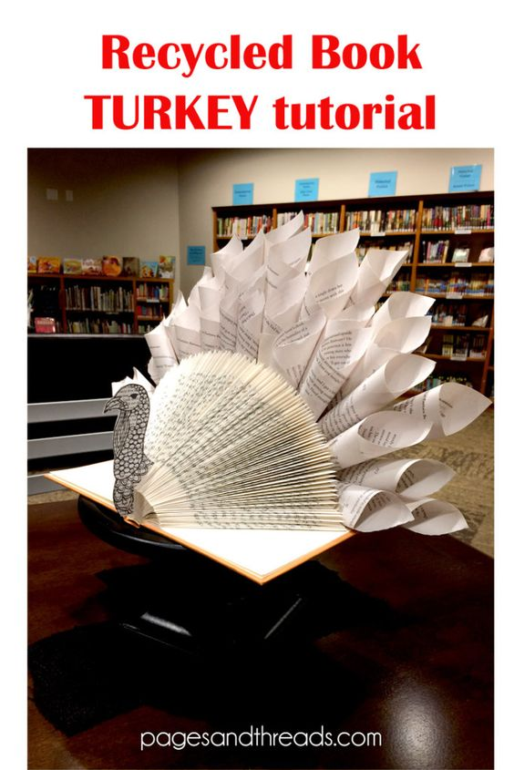 How to make a recycled book turkey for a Thanksgiving library display or centerpiece!