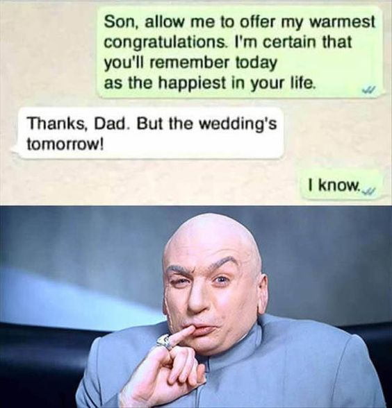 Father congratulating son with text message about his wedding Funny Pic