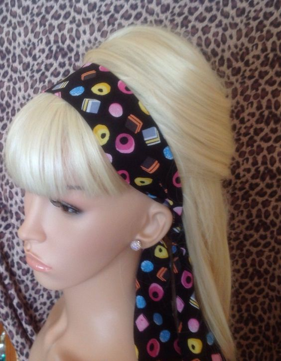 BLACK LIQUORICE ALLSORTS SWEET PRINT NOVELTY HEAD BAND HAIR SCARF SELF TIE BOW…