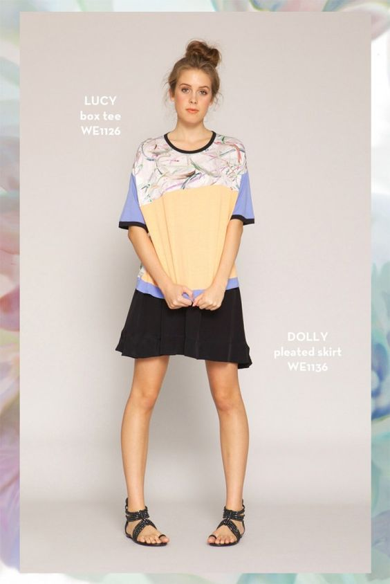 Lucy Box Tee and Dolly Pleated Skirt. SHOP www.whitneyport.com