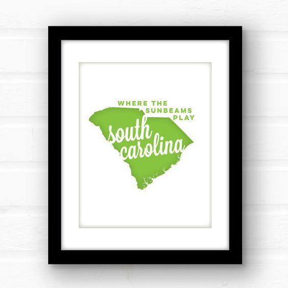 South Carolina home decor  South Carolina art  by PaperFinchDesign