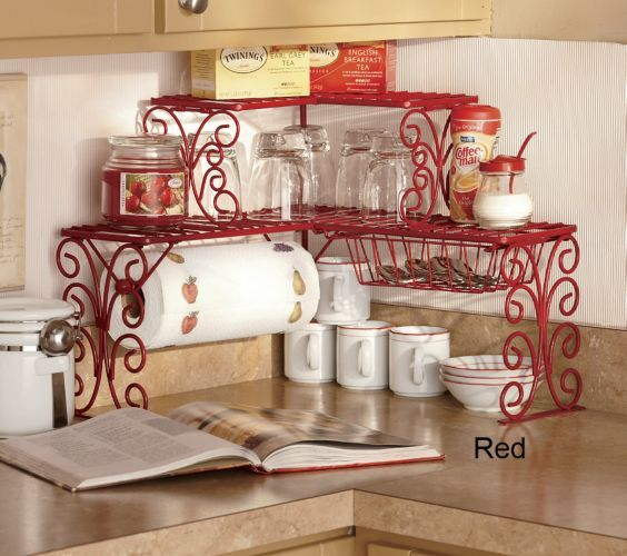 Love this corner kitchen shelf
