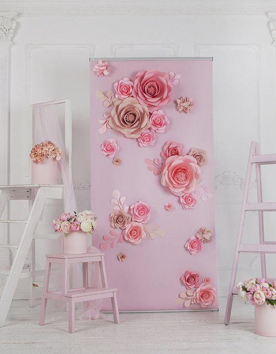 fleur en papier toile de fond mur de fleurs de papier. Black Bedroom Furniture Sets. Home Design Ideas