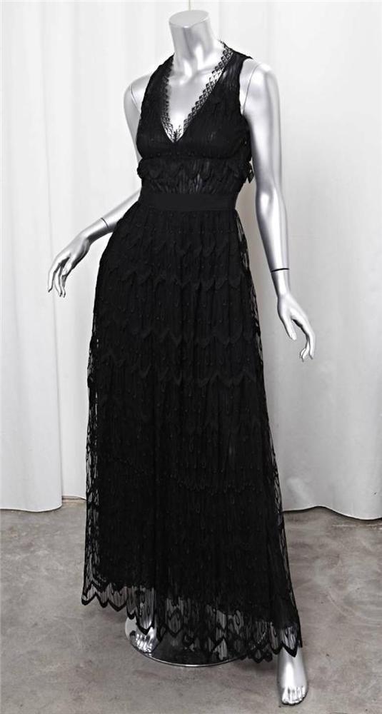 NINA RICCI Womens Black Lace Sleeveless V-Neck Long Formal Gown Dress 36/2/0 #NINARICCI #Gown #Formal