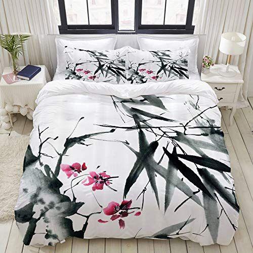 Lasinsu Tiges De Bambou Naturel Japonais Fleurs De Cerisier Impression D Inspiration Populaire Japonais Housse De Couette 200x200 Couette 200x200 Parure De Lit