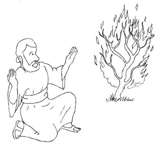 Coloring Pages Moses Burning Bush