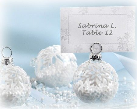 Christmas baubles as placecard holders