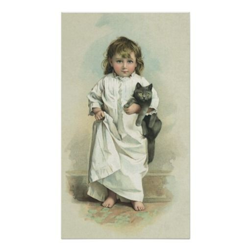 Vintage Victorian Girl in a Nightgown with Her Cat Print