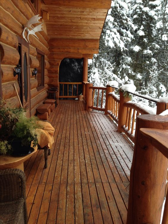 Log home porch with a great view for Log home porches