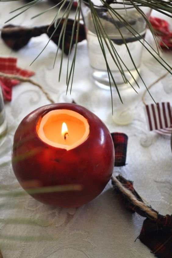 Ideas involving apples... i really like these apple votive holders.