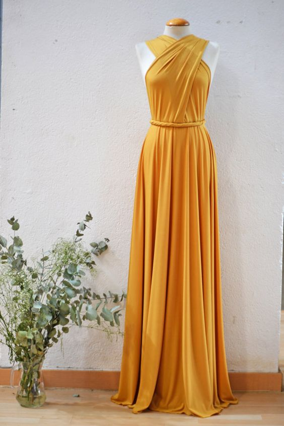 Mustard Party Dress Yellow Long Dress Mustard by mimetik on Etsy