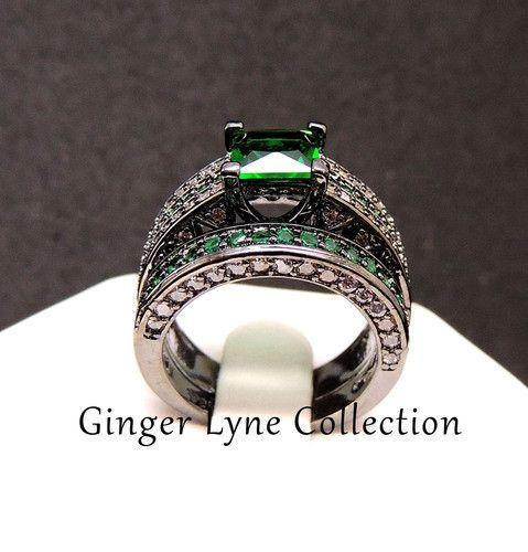 Edie, Gorgeous Green Wedding Ring Set Black Plated