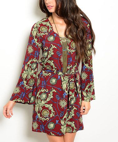This Wine & Olive Floral Tie-Waist Dress is perfect! #zulilyfinds