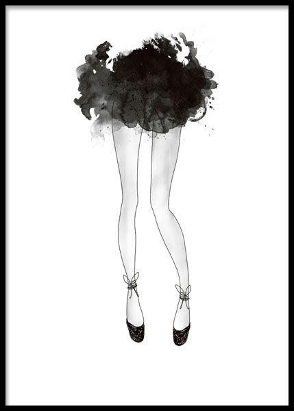 Poster med illustration av ballerina och svart kjol.