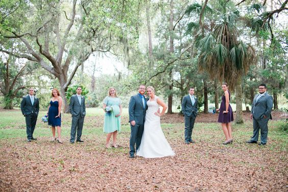 Outdoor, Bradenton Nature/Garden Bridal Party Portrait with Grey Groomsmen Suits and Assorted Colored Bridesmaids Dresses