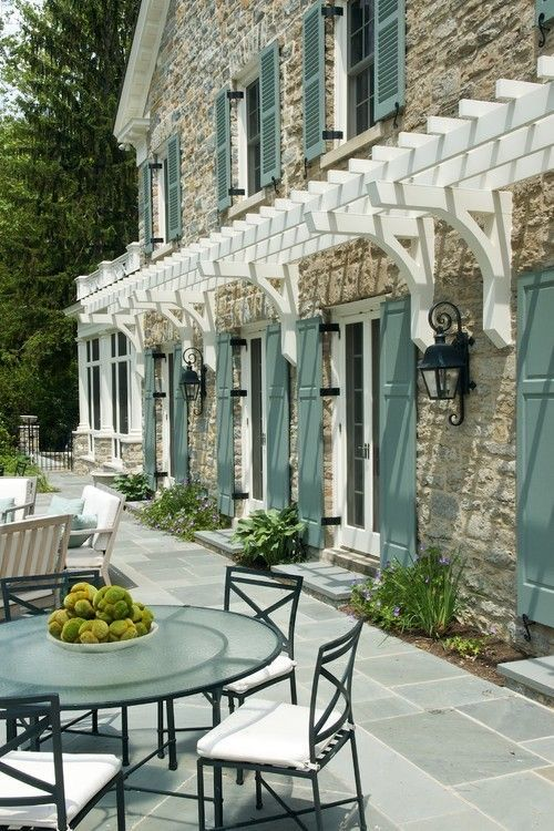 Love The Blue Green Shutters White Arbor And Old World Style Lantern Lamp Outdoor Ligh House Paint Exterior Shutters Exterior Exterior Paint Colors For House