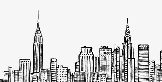 City Silhouette Line Art Design New York Drawing Line Art Drawings