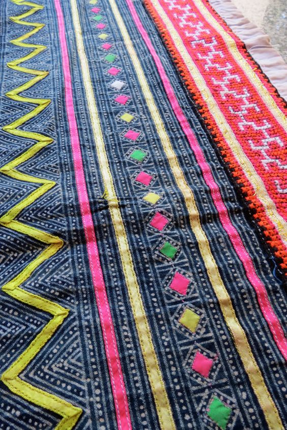 Handwoven Hmong hemp and cotton Vintage fabric Indigo by dellshop