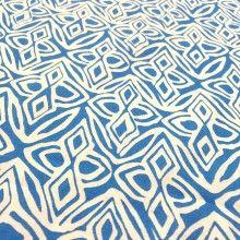 """Tissu de coton motif éthnique """"Bandama"""" - bleu turquoise et blanc"""