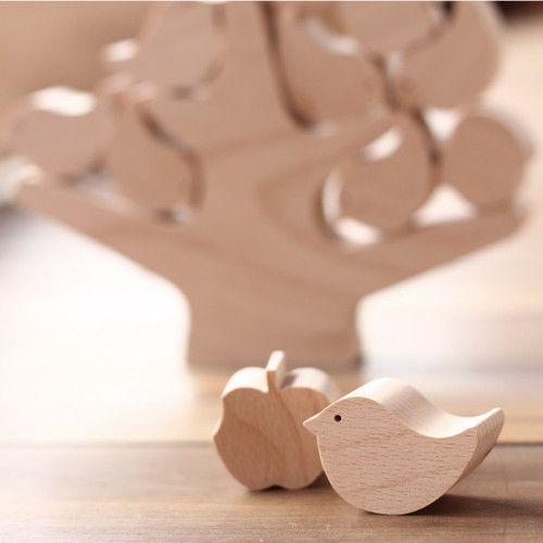 新発売 小鳥とりんごと木のつみき おすすめ 1歳頃から カードホルダー つみき 木のおもちゃ