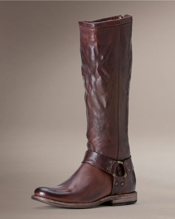 Frye Women's Vintage Phillip Harness Tall Boot ...crinkled, worn, distressed...perfection!