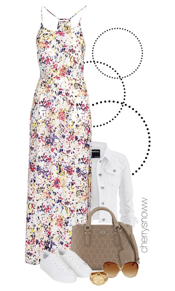 """""""Casual maxi dress summer/spring outfit"""" by cherrysnoww ❤ liked on Polyvore featuring maurices, Fat Face, Tory Burch, Topshop and Michael Kors"""