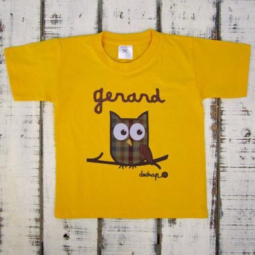 Camiseta niño manga corta búho con tu nombre - Marketplace social de tiendas para niños de 0 a 14 años