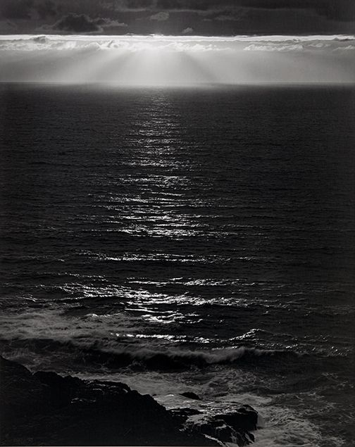 Sundown, the Pacific | Ansel Adams | This classic sunset has Ansel Adams written all over it. It's thought provoking. Some images you can just glance at. But this, like so many other Ansel Adams photographs, draws you in.