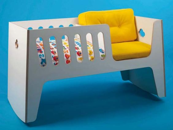 cradle and rocker in one, then turn upside down to turn it into child's bed
