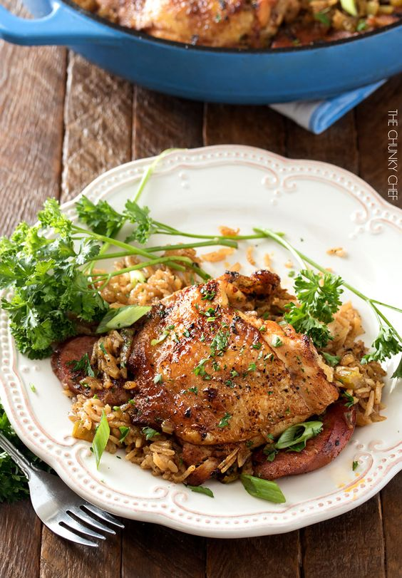 One Pot Chicken and Dirty Rice   Chicken thighs are cooked on top of a homemade dirty rice, which makes for the most flavorful Cajun-inspired dish you've ever had! Plus, all you need is one pot!   http://thechunkychef.com