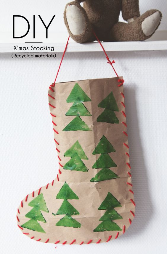 Bloesem giving christmas craft diy christmas stocking for Diy crafts using recycled materials