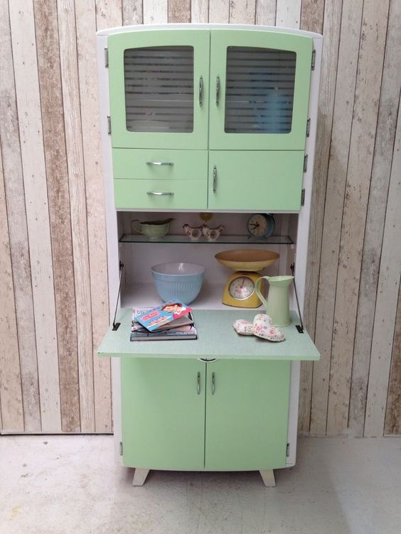 Vintage retro kitchen cabinet cupboard larder kitchenette for Vintage kitchen units uk