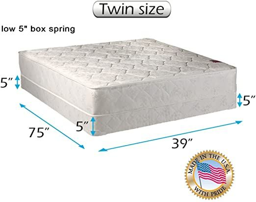 Legacy One Sided Twin Mattress And Low Profile Box Spring Set With Bed Frame Included Good For Your Back Longlasti In 2020 Queen Mattress Size Box Spring Spring Set