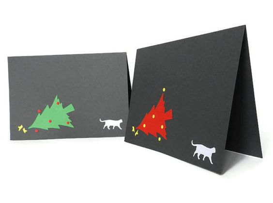 Christmas Card with tree and cat, papercut, Handmade, Christmas tree, red and green; Fun Christmas card