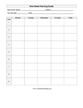 Teachers can plan nine week out with this blank lesson ...