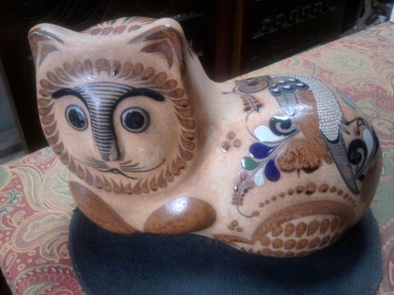 Huge Mexican Folk Art Corcho Pottery / Stoneware Cat 39.99