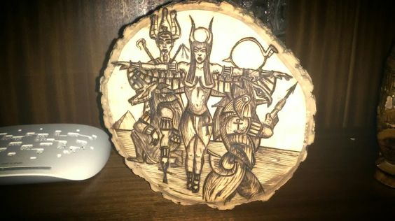 Egyptian Gods wood burned plate