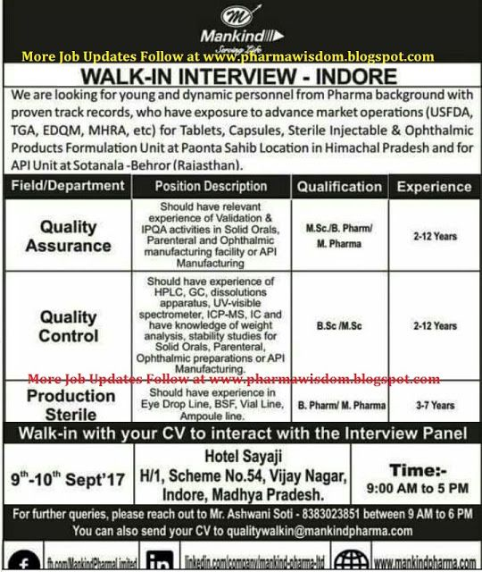 PHARMA WISDOM AUROBINDO PHARMA - Walk-In Interview for Operators - quality control job description