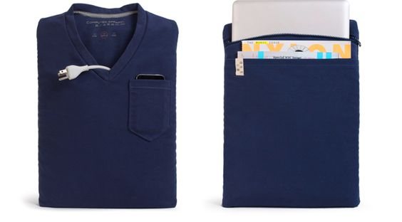 V-neck T for your computer or iPad by Computer Apparel by dfraggd: Store cords in the v-neck, iPhone in the breast pocket and your computer/iPad in the back zippered pocket. #Computer_Bag #T_Shirt #Computer_Apparel
