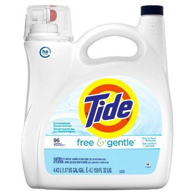 Tide Free Gentle Unscented High Efficiency Liquid Laundry Detergent 150 Fl Oz Free Gentle High Laundry Liquid Liquid Laundry Detergent Laundry Detergent
