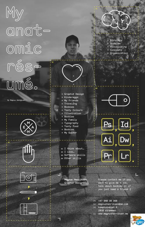 CV design photo why? the black and white pictures... and white font makes it really really modern // google glasses