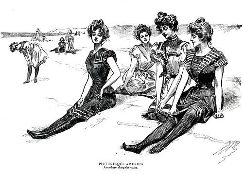 """Picturesque America - Anywhere along the coast.""    From The Gibson Girl & Her America    The Best Drawings of Charles Dana Gibson"