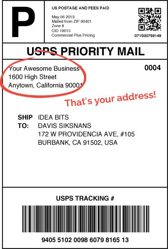 USPS Shipping Label T-shirt design Pinterest Products - sample address label