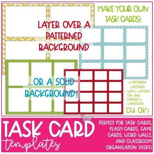 Task Card Flash Card Templates Commercial Use Ok In 2020 Flashcards Flash Card Template Task Cards