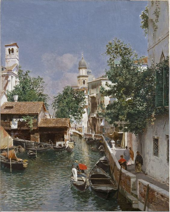 """Canal em Veneza"" - Óleo sobre tela de Rubens Santoro"