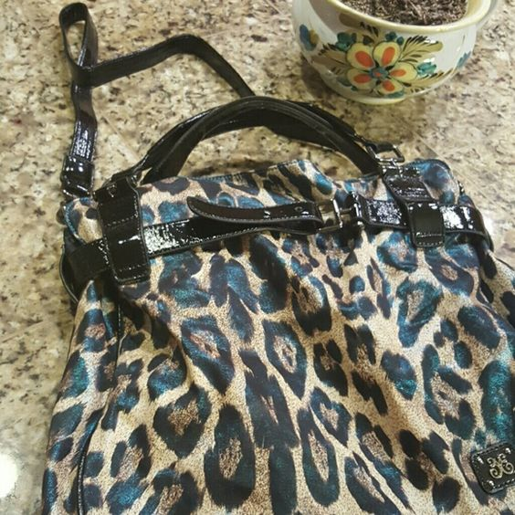 Large Vieta Bag W/Satchel Straps and Shoulder S Turqoise blue Lion spots..Large and Luxiourios bag...New..$55.00 Bags Shoulder Bags