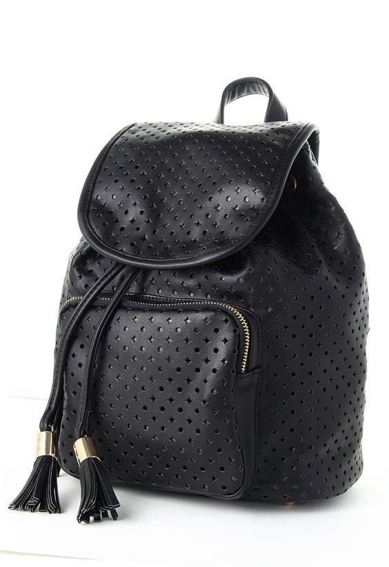 Starry Cut Out Black Backpack// Love my black back pack purse...my all time hands free purse!!!