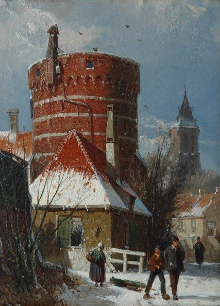 Willem Koekkoek (Amsterdam 1839-1895 Nieuwer-Amstel (Amstelveen)) Hollands stadsgezicht in de sneeuw - Kunsthandel Simonis en Buunk, Ede (Nederland).