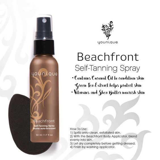Younique self tanning spray. Contains coconut oil to condition skin, green tea extract to protect skin and vitamins and Shea butter to nourish skin. Lasts 5-7 days. We have a love it guarantee so if you don't love it you can return it for a full refund. #younique Double click on the image to get yours.   https://www.youniqueproducts.com/lashestothemax/products/view/US-12403-01#.VvNgt3rnpaY