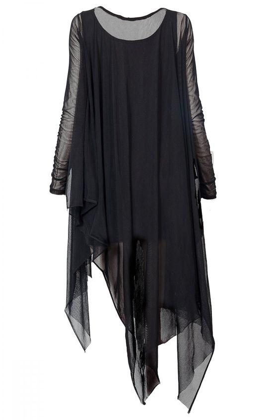 Samara Mesh Draping Dress BLACKBLESSED
